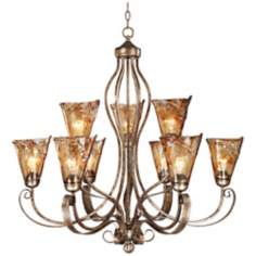 "Franklin Iron Works Amber Scroll 35 1/2"" Wide Chandelier"