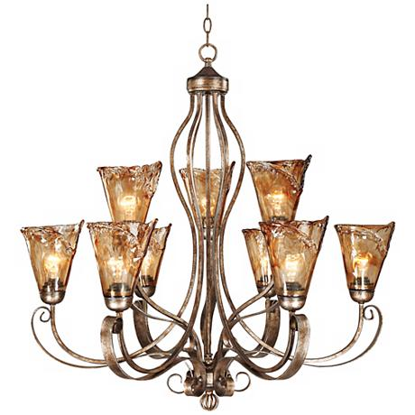 "Franklin Iron Works™ Amber Scroll 35 1/2"" Wide Chandelier"