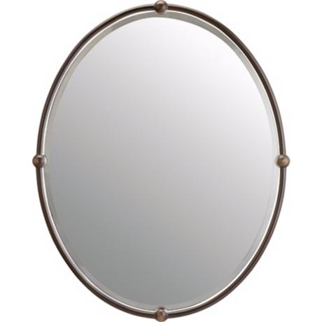 "Olde Bronze Finish Bead Detail Oval 30"" High Mirror"