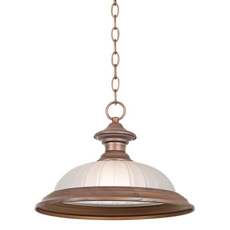 "Melon Glass Dark Bronze finish 15"" Wide Pendant"
