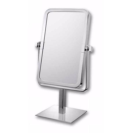 "Aptations Chrome 9 3/4"" High Rectangular Vanity Stand Mirror"