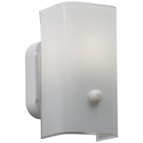 "Curved 7 1/2"" High White Glass Wall Sconce"