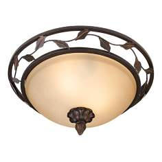 "Bronze Finish 14"" Wide Leaf and Vine Ceiling Light Fixture"