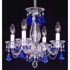 Schonbek Minuet 4 Light Sapphire Crystal Mini Chandelier
