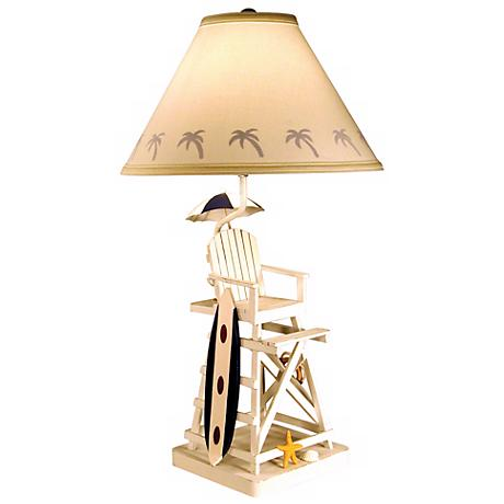 Lifeguard Chair and Surfboard Table Lamp