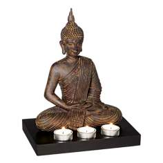 Sitting Buddha 3-Candle Tealight Holder