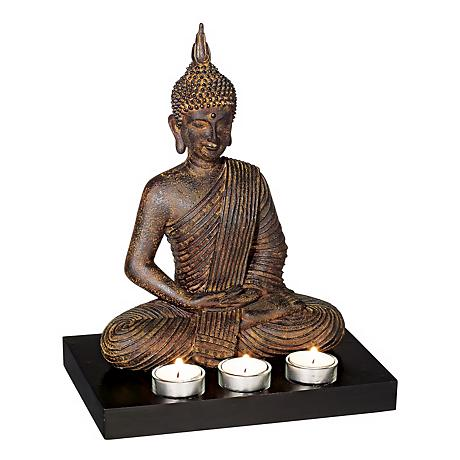 "Sitting Buddha 12 3/4"" High 3-Candle Tealight Holder"