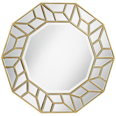 "Jenison Faceted 34"" x 34"" Gold Wall Mirror"