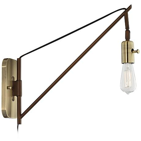 Vintage Plug In Wall Sconces : Hobson Bronze and Antique Brass 17
