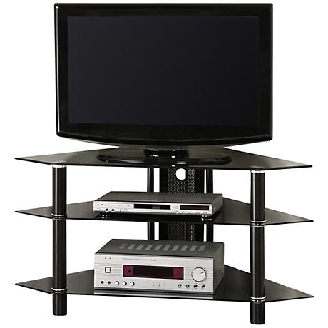 "Bermuda Black Tempered Glass 43"" Corner TV Stand"