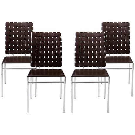 Carina Brown Bonded Leather Side Chair Set of 4