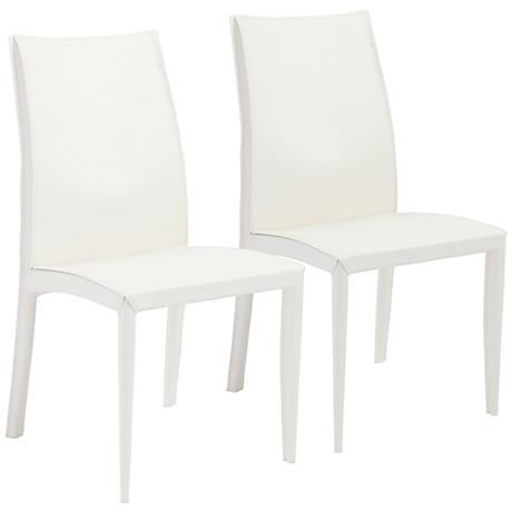 Dafney White Bonded Leather Side Chair Set of 2