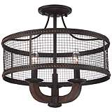 "Frankton Industrial 16"" Wide Bronze Ceiling Light"