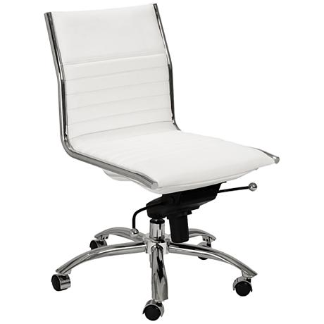 lugano low back armless white office chair