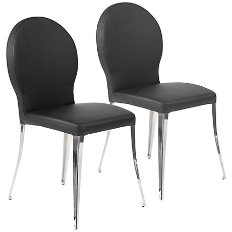 Farid Black Faux Leather Chrome Side Chair Set of 2
