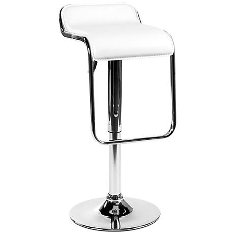 Furgus Adjustable White Faux Leather Bar or Counter Stool