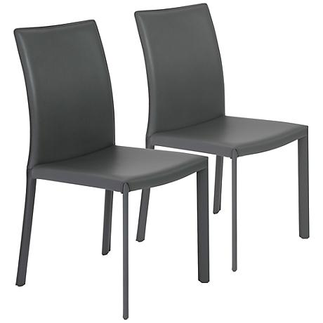 Hasina Gray Bonded Leather Side Chair Set of 2
