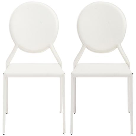 Isabella White Bonded Leather Side Chair Set of 2