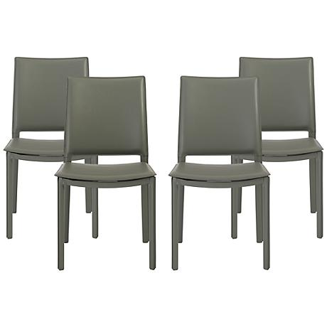 Kate Gray Faux Leather Side Chair Set of 4