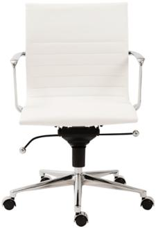 Kyler Low Back White Faux Leather Office Chair (6D002) 6D002