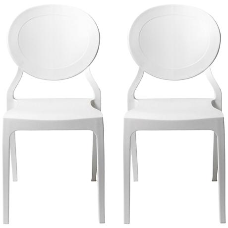 Vasska White Molded Side Chair Set of 2