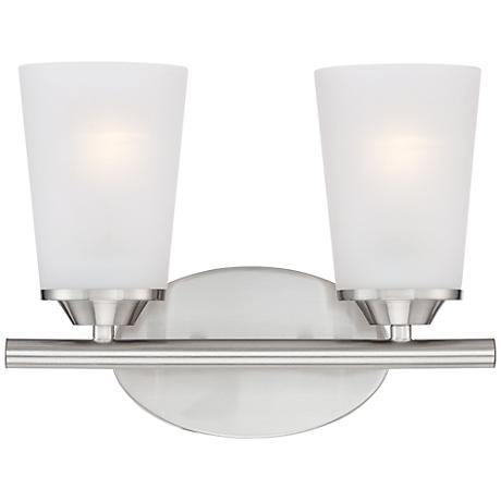 "Masterton 2-Light 12"" Wide Satin Nickel Bath Light"
