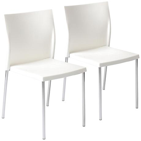 Yeva White Stacking Side Chair Set of 2