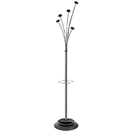 Festival 5-Hook Chrome Black Coat Rack Umbrella Holder