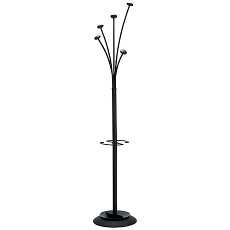 Festival 5-Hook All-Black Coat Rack Umbrella Holder