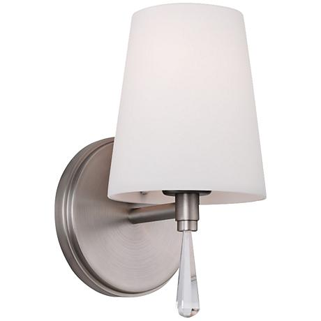 "Feiss Monica 9"" High Satin Nickel Wall Sconce"