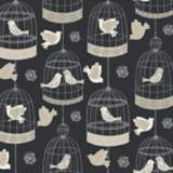 York Sure Dark Gray Strip Birdcage Wallpaper