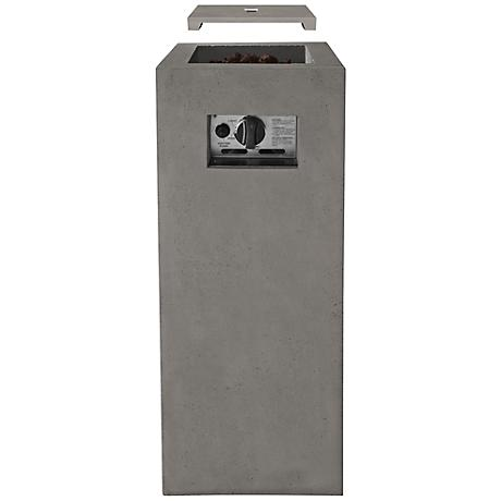 Real Flame Baltic Glacier Gray Outdoor Fire Column