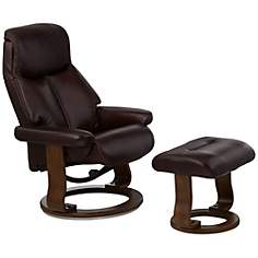 Leone Sumatra Chocolate Leather Ottoman and Swivel Recliner