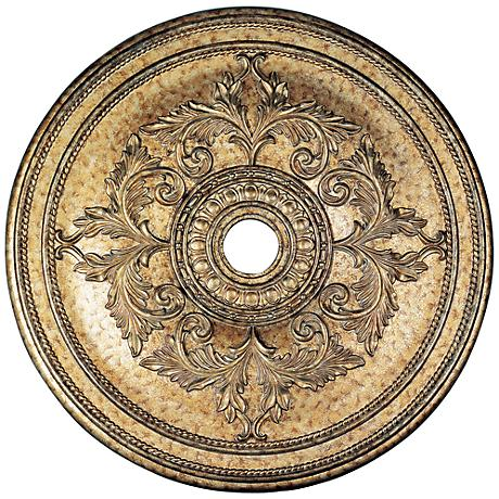 "Pascola 40 1/2"" Wide Vintage Gold Leaf Ceiling Medallion"