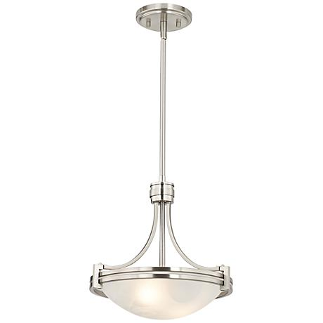 "Possini Euro Deco 12 1/2"" Wide Brushed Nickel Mini Pendant"