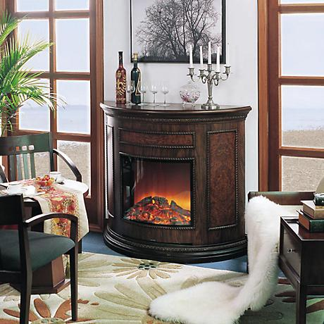 Yosemite Alpine Brown Wooden Electric Fireplace