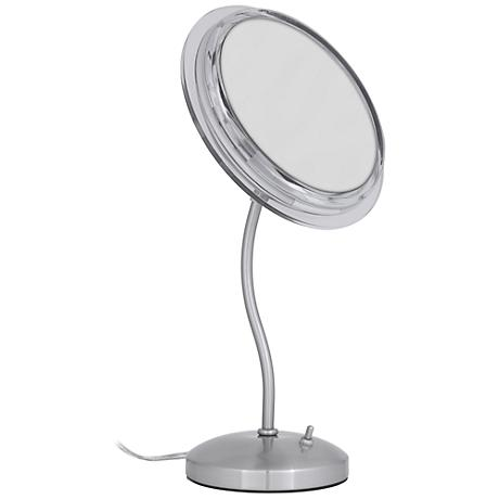 Satin Nickel S-Neck Surround Light 7X Magnified Mirror
