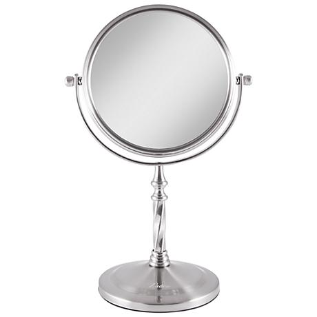 Satin Nickel Swivel 5X Magnification Makeup Mirror