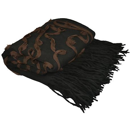 Black Embellished Cashmere Blend Chiffon Throw Blanket