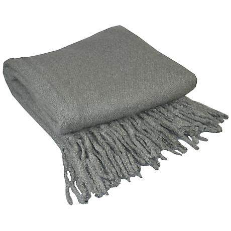 Alloy Gray Looped Mohair Throw Blanket