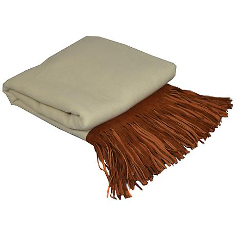 Creme Merino Wool Brown Suede Fringed Throw Blanket