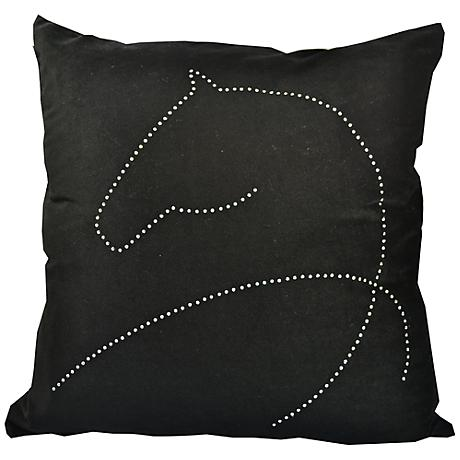 "Year Of The Horse 18"" Square Black Throw Pillow"