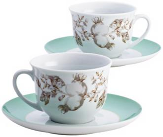 BonJour Fruitful Nectar Porcelain Teacup and Saucer Set (6H811) 6H811