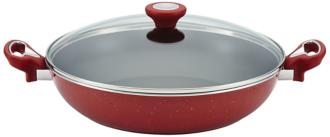 "Farberware Speckled Red 12 1/2"" Nonstick Covered Skillet (6H882) 6H882"