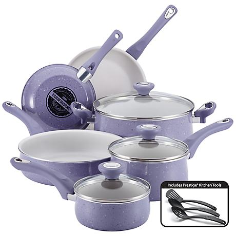 Farberware Lavender White 12-Piece Nonstick Cookware Set ...