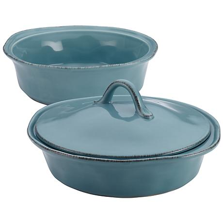 Rachael Ray Blue 3-Piece Stoneware Casserole and Lid Set