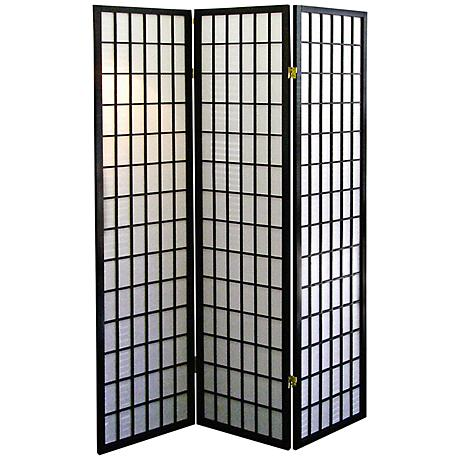Tomball Japanese-Inspired Black 3-Panel Room Divider