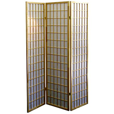 Tomball Japanese-Inspired Natural 3-Panel Room Divider