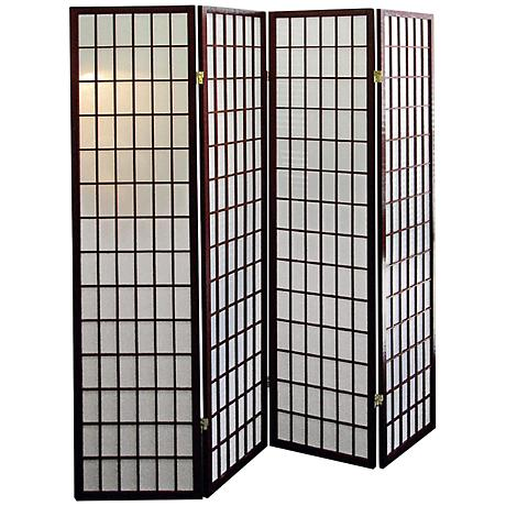 Tomball Japanese-Inspired Cherry 4-Panel Room Divider