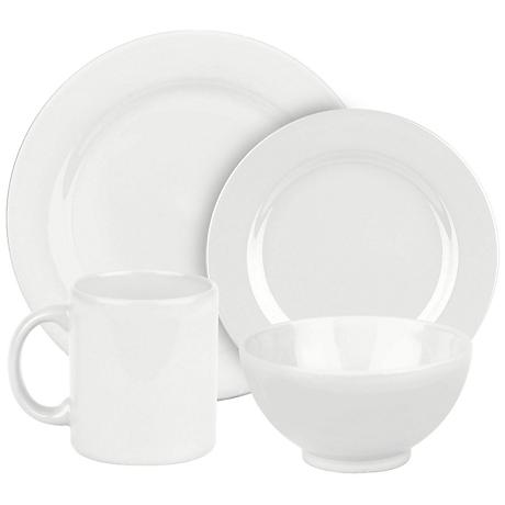 Fun Factory White Ceramic 16-Piece Place Setting